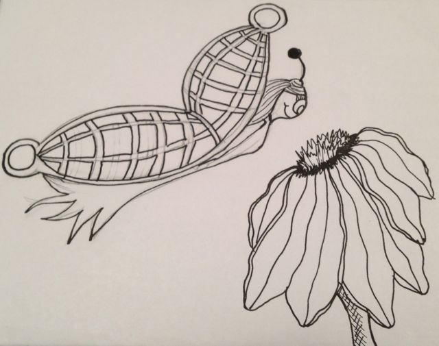 butterfly and flower black ink drawing