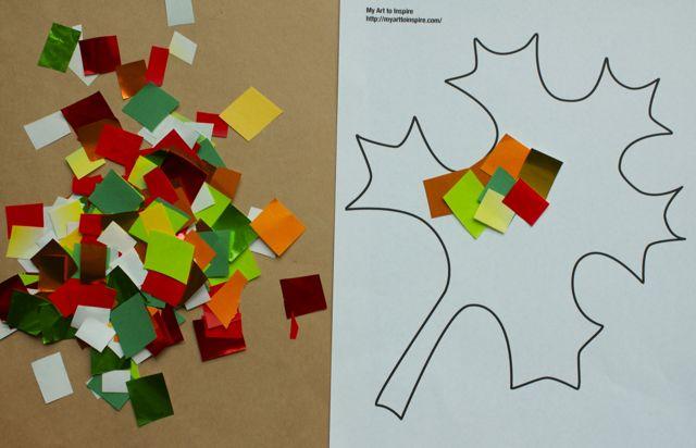 Glue square paper onto leaf template.