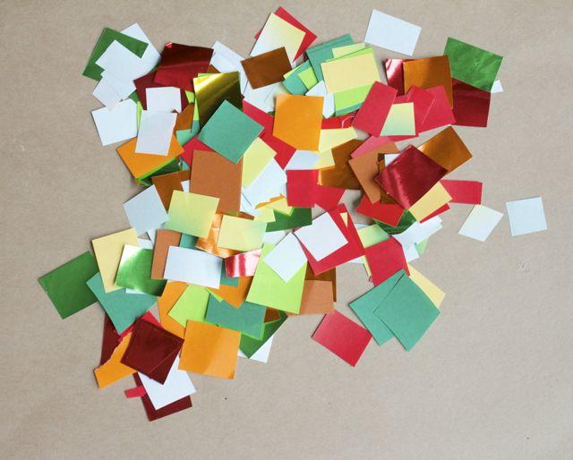Colored paper squares.