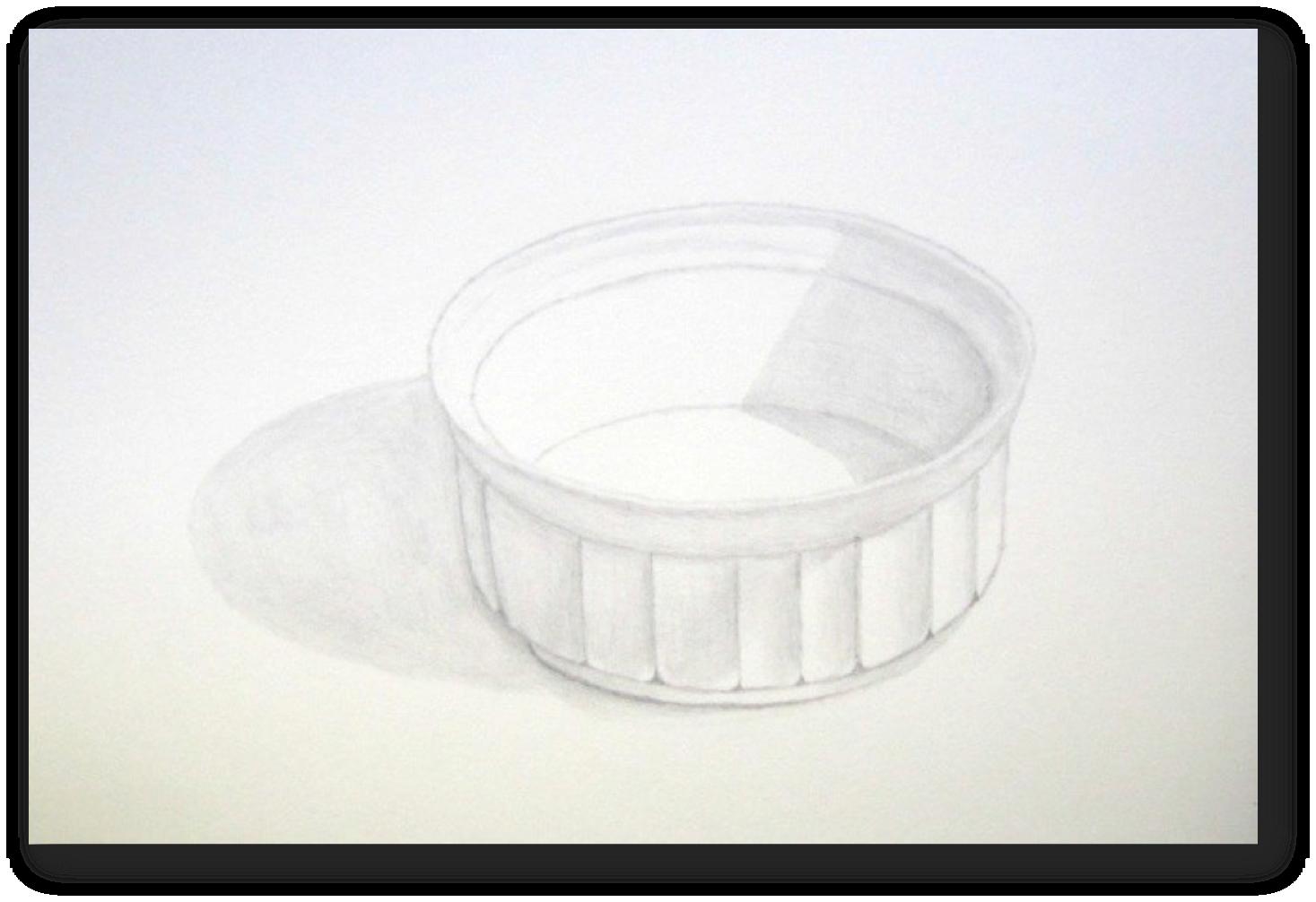 "Figure 13: Custard Cup, Graphite, 9""x12"""