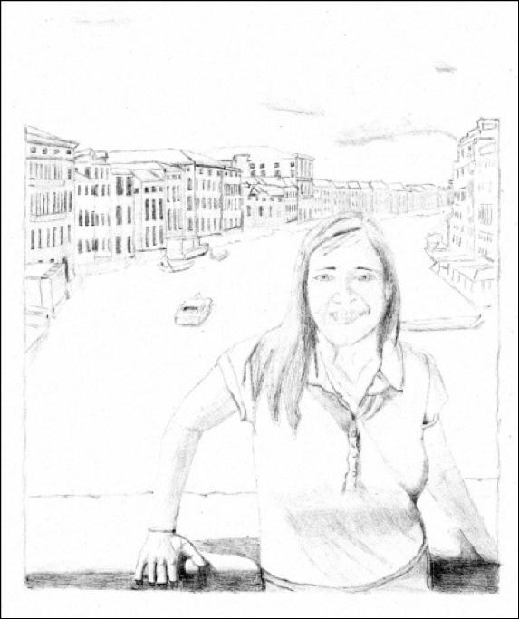 "Figure 14: Julia in Venice, layout in Graphite on Watercolor Paper, 8"" x 10"""