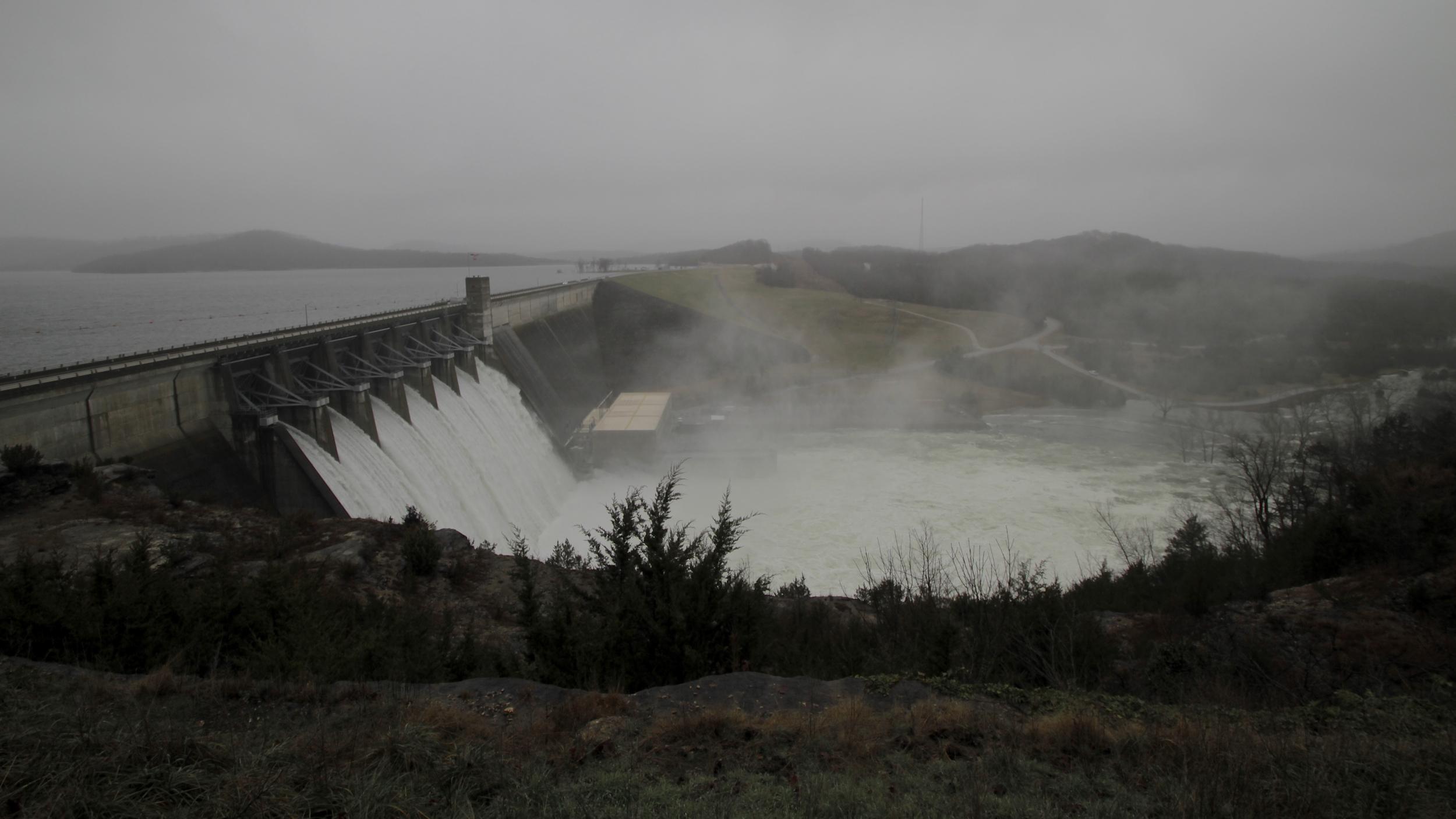 Flood gate releases from Beaver Lake Dam- Brock Dixon