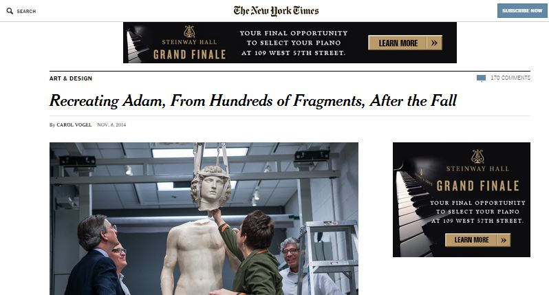 Screen capture of the New York Times article
