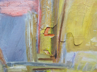 Cracking and Paint Loss on Contemporary Oil on Canvas