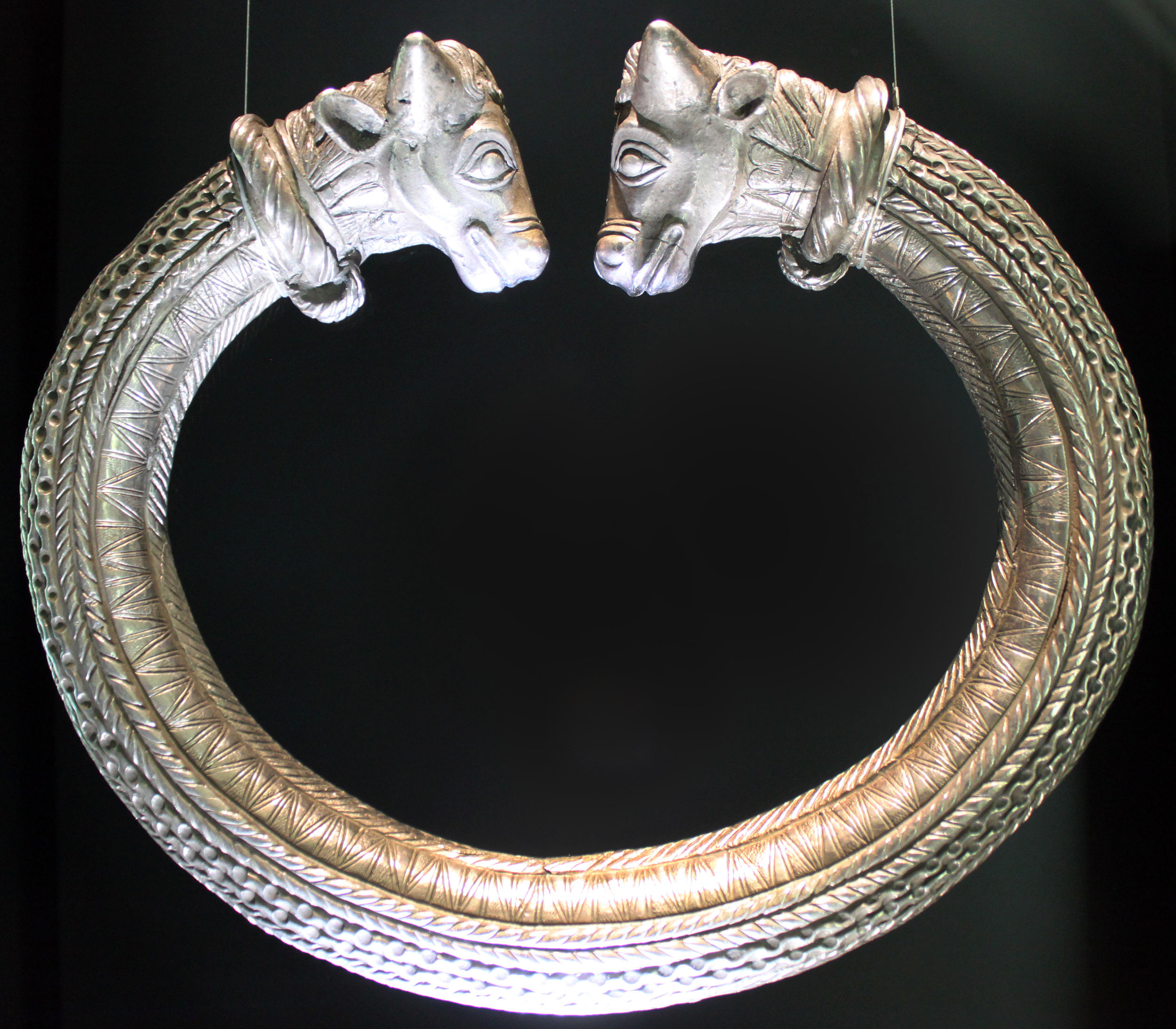Silver Ring with bull's head ends, 1st century BC, Rottweil Region, shown at the Landesmuseum Württemberg, Stuttgart, Germany
