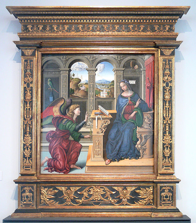 Annunciation  , Lucca, c. 1500, a free standing altarpiece made of poplar