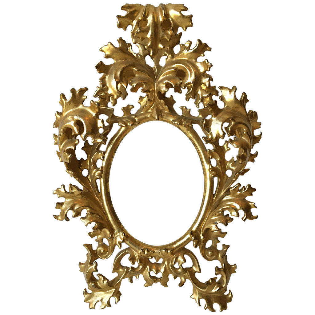 Small Florentine Water Gilt Carved Rococo Style Frame, circa 1900