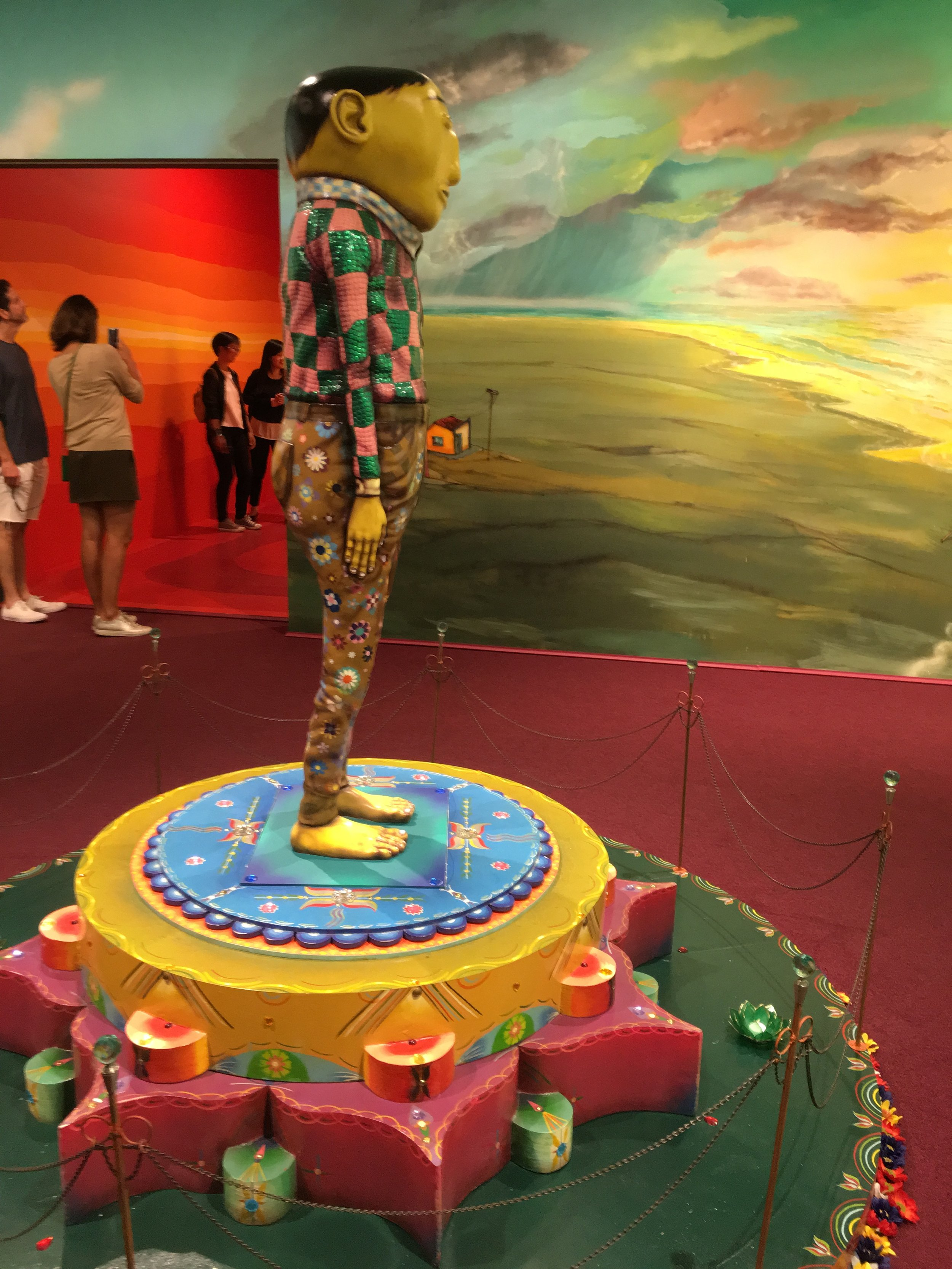 """OSGEMEOS """"Silence of the Music""""/Lehmann Maupin Gallery New York   O iluminado (The illuminated),  2015   mixed media with sequins on plaster   64.57 x 19.69 x 17.72 inches   164 x 50 x 45 cm"""