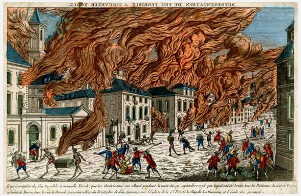 Franz Xaver Habermann (1721–1796), engraved by J. Chéreau,  Représentation du feu terrible à nouvelle Yorck  , 1776. New-York Historical Society Library