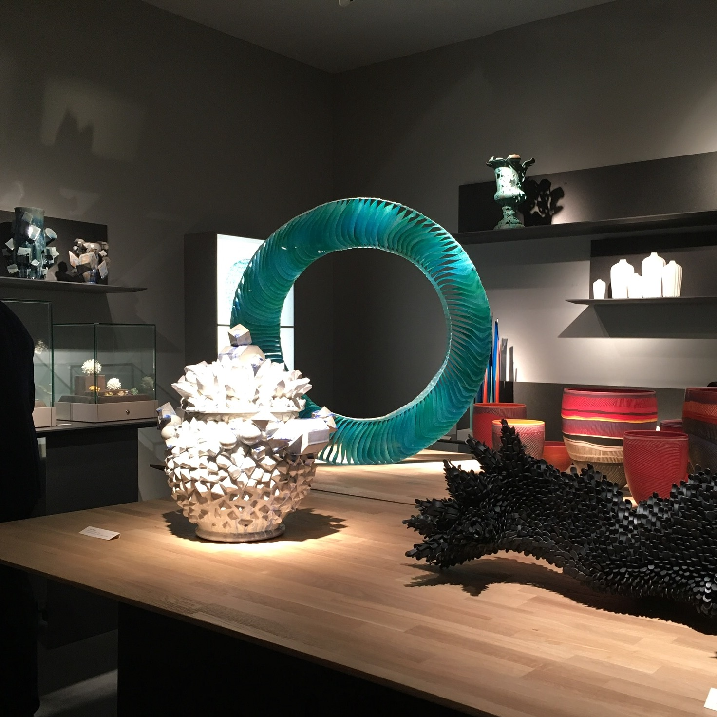 The stand of Adrian Sassoon, Stand B17, with a piece in steel by Junko Mori in the foreground