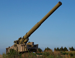 Fort Riley, Kansas: The atomic cannon was a huge piece of ordnance built by the US in the mid-1950s to hurl nuclear shells far enough that they wouldn't kill the people who fired them.  That thing has decorated a bluff outside my home town my whole life. I periodically dreamily wonder, when reading the political press, if I could work it.