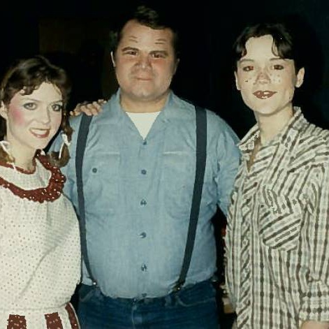 Me 'n' Shannah Timms in Susannah, a thousand years ago, apparently.   I have no memory of that guy's name. Yeah, my first opera I was in it. I was Chorus Townsboy, the first of the obligatory pants roles.