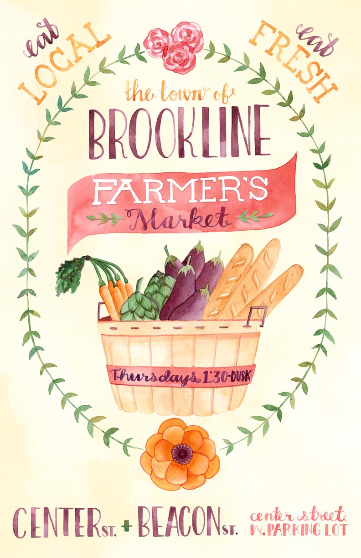 Becca Cahan Brookline Farmer's Market Posterjpg
