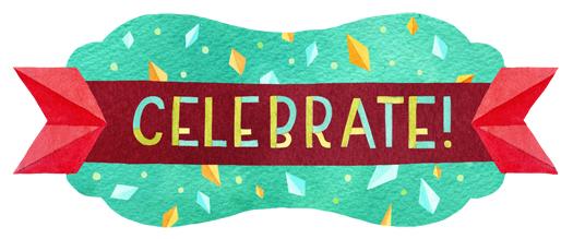 """Celebrate"" corresponding sticker by becca cahan"
