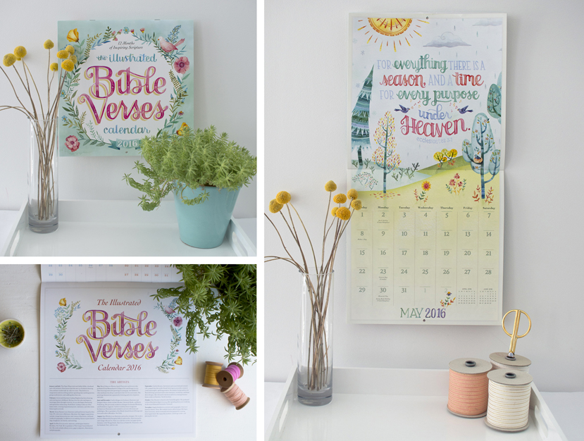 """Illustrated Bible Verses"" Workman Publishing Poster 2016 Calendar // Illustrations by Becca Cahan"