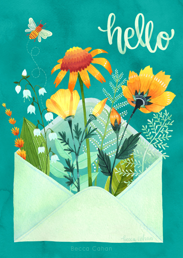 Hello Little Flower Envelope by becca cahan