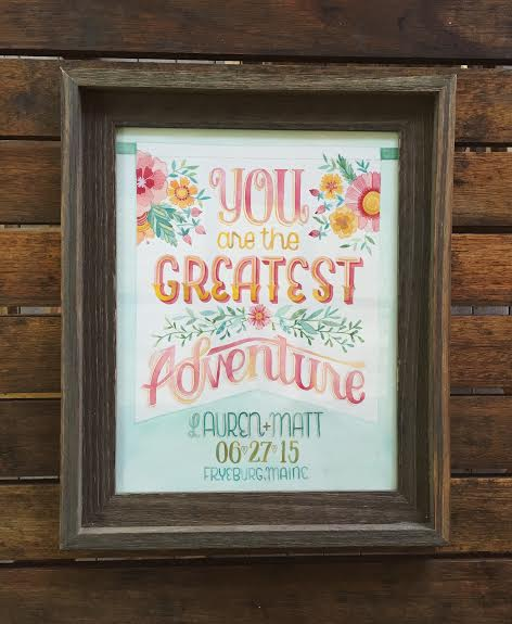 Becca Cahan // You are the Greatest Adventure - Lauren and Matt custom illustration