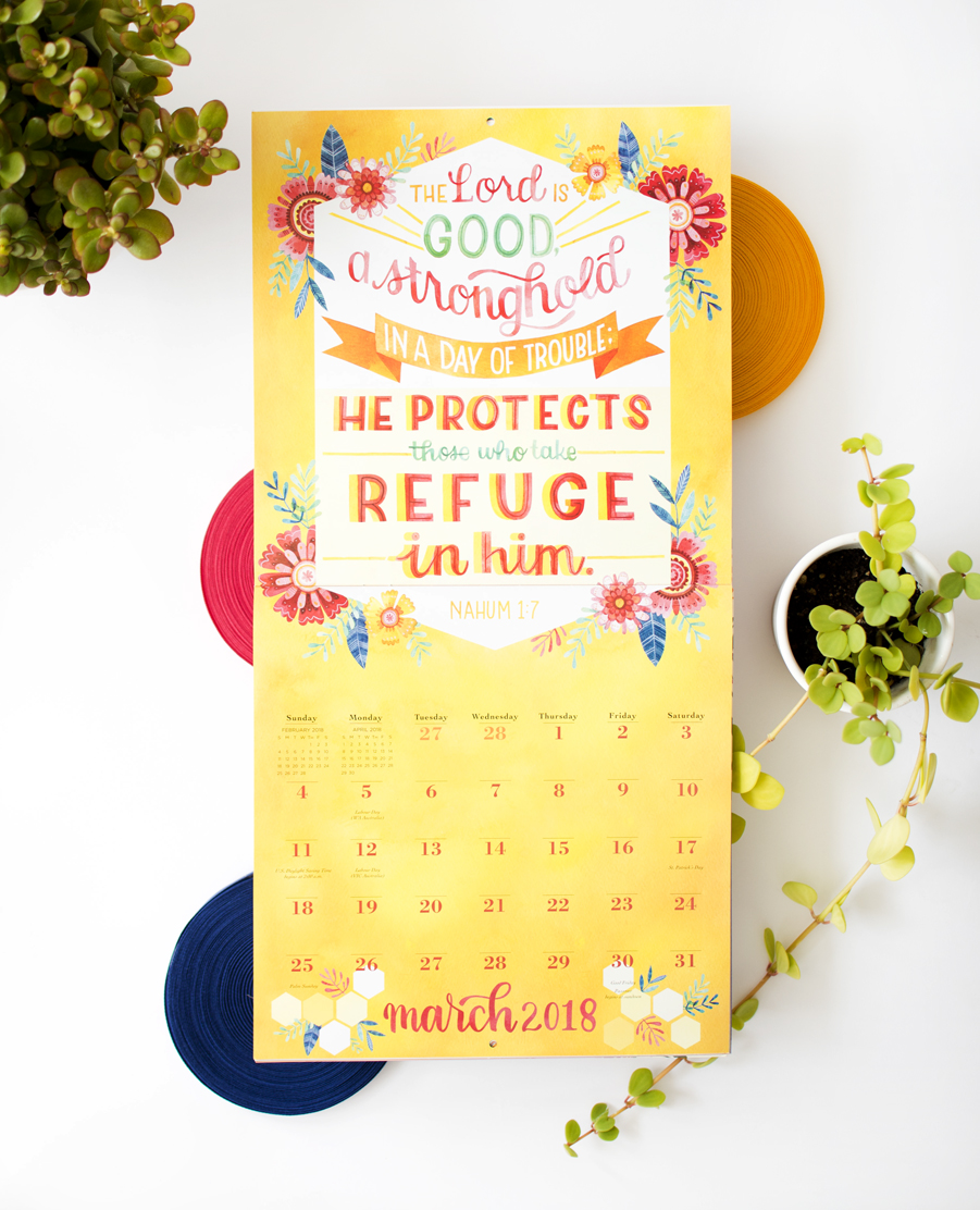 """Illustrated Bible Verses"" Workman Publishing 2018 Calendar // Illustrations by Becca Cahan"