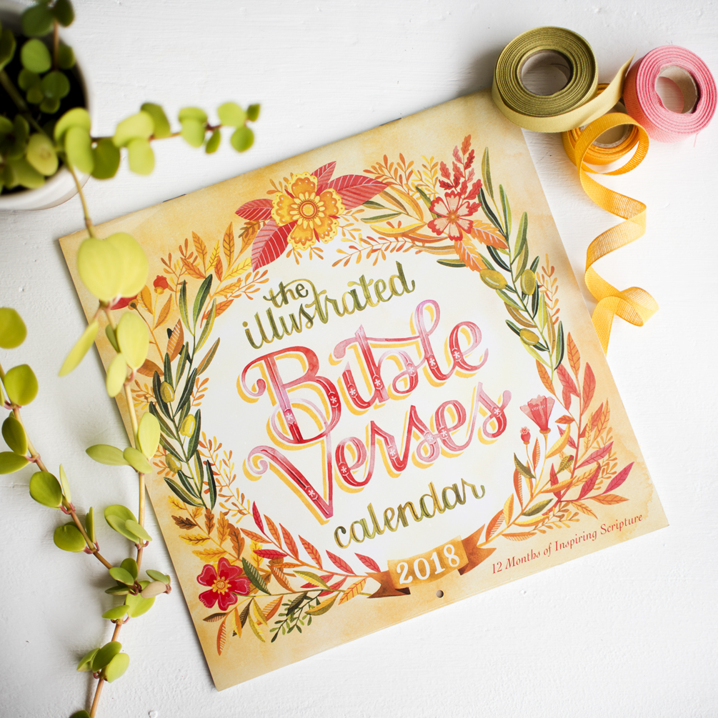 """Illustrated Bible Verses"" Workman Publishing 2017 Calendar // Illustrations by Becca Cahan"