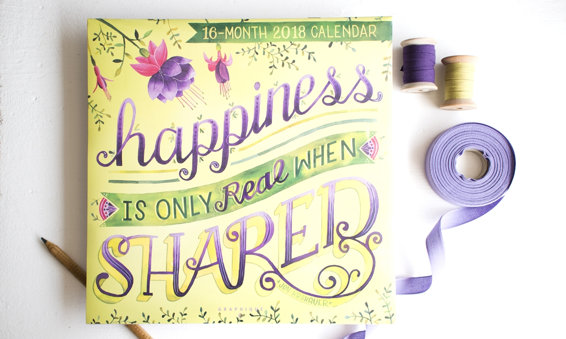 """2018 Graphique De France """"Happiness"""" Calendar Illustrated by Becca Cahan"""