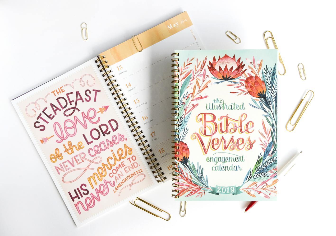 Becca Cahan Illustration X Workman Publishing Illustrated Bible Verse Engagement Calendar Planner