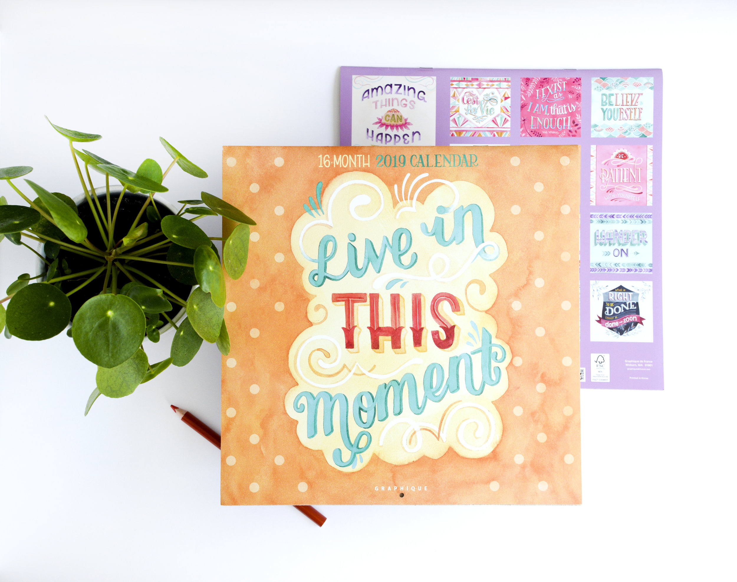 "2019 Graphique De France ""Live in This Moment"" Calendar Illustrated by Becca Cahan"
