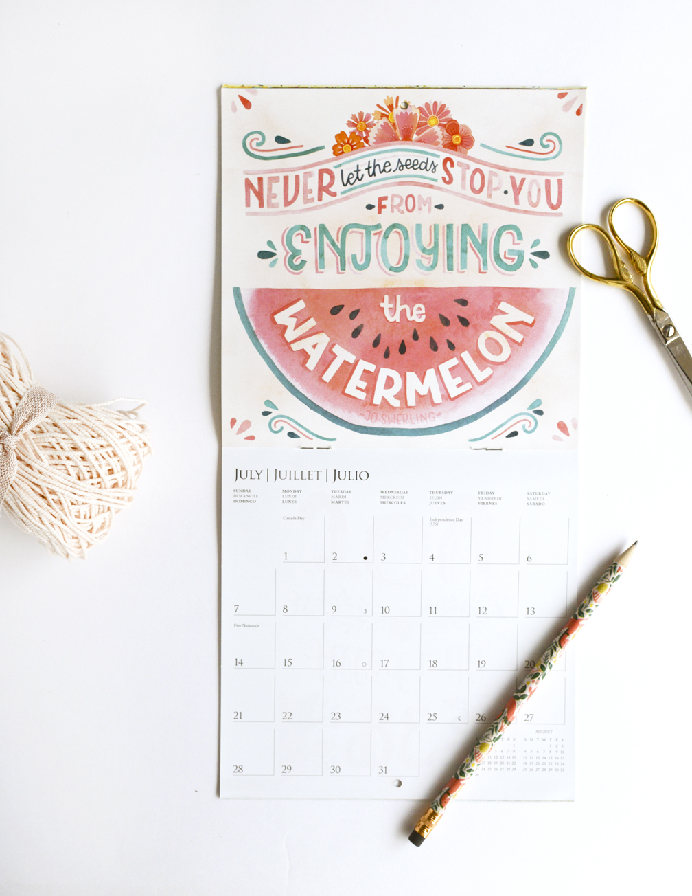 """2019 Graphique De France """"Happiness is Only Real When Shared"""" Mini Calendar Illustrated by Becca Cahan"""