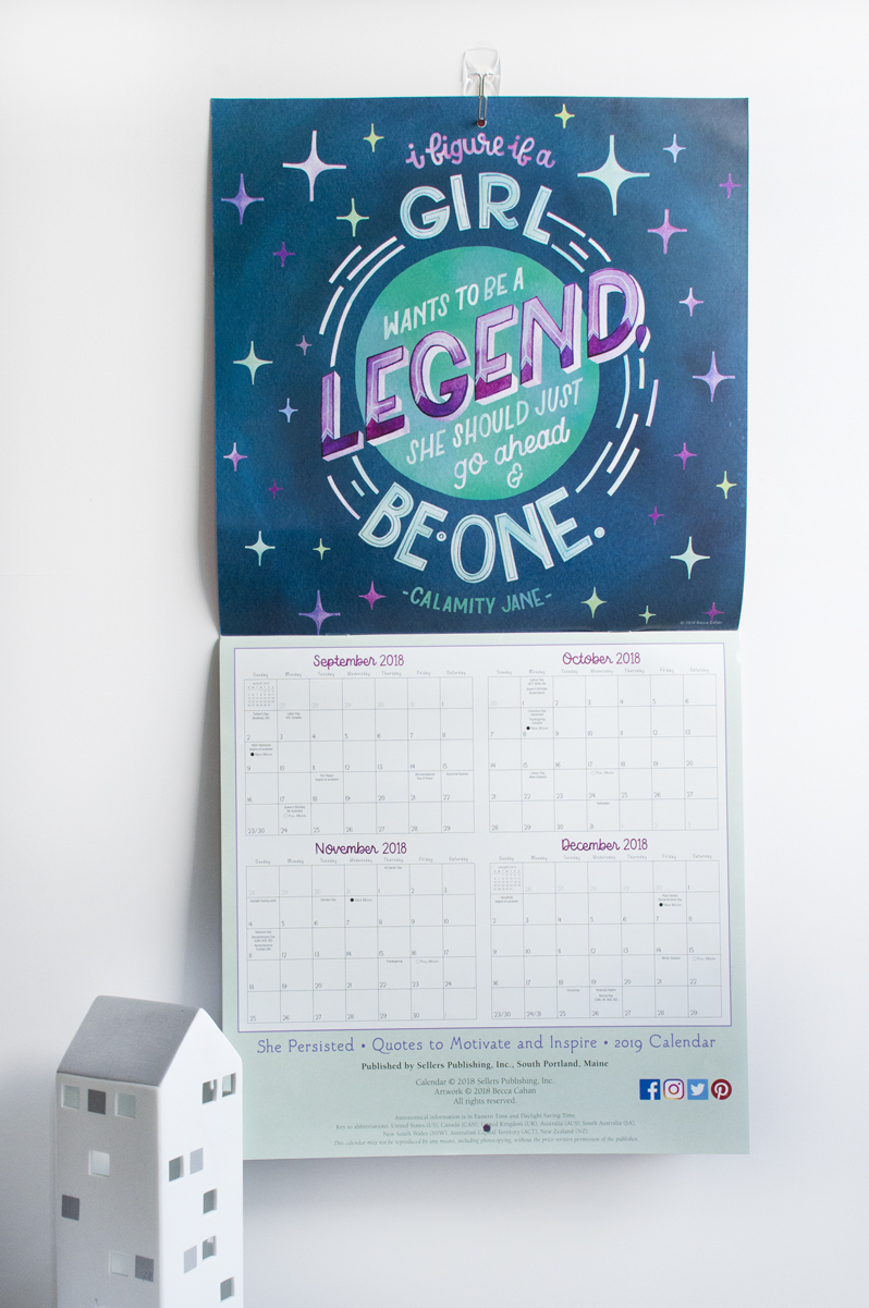 """2019 Sellers Publishing """"She Persisted"""" Calendar Illustrated by Becca Cahan"""