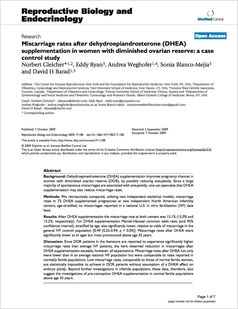 Reprod Biol Endocrinol. 2009 Oct 7;7:108. doi: 10.1186/1477-7827-7-108. - Gleicher N, Ryan E, Weghofer A, Blanco-Mejia S, Barad DH.