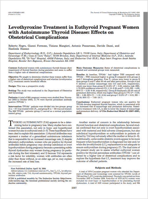 By Its Fruit Levothyroxine Treatment In Euthyroid Pregnant Women