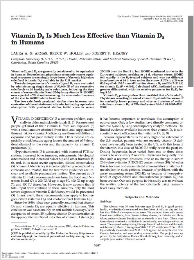 J Clin Endocrinol Metab. 2004 Nov;89(11):5387-91. - Armas LA, Hollis BW, Heaney RP.