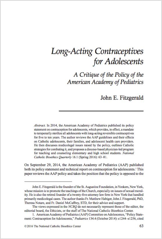 The National Catholic Bioethics Quarterly Volume 16, Issue 1, Spring 2016,Pages 63-81 - Fitzgerald, John E.