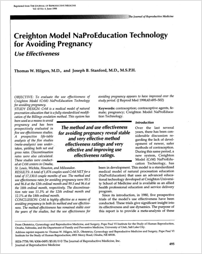 J Reprod Med. 1998 Jun;43(6):495-502. - Hilgers TW, Stanford JB.