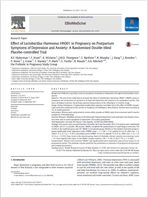EBioMedicine. 2017 Oct;24:159-165. - Slykerman RF, Hood F, Wickens K, Thompson JMD, Barthow C, Murphy R, Kang J, Rowden J, Stone P, Crane J, Stanley T, Abels P, Purdie G, Maude R, Mitchell EA; Probiotic in Pregnancy Study Group.