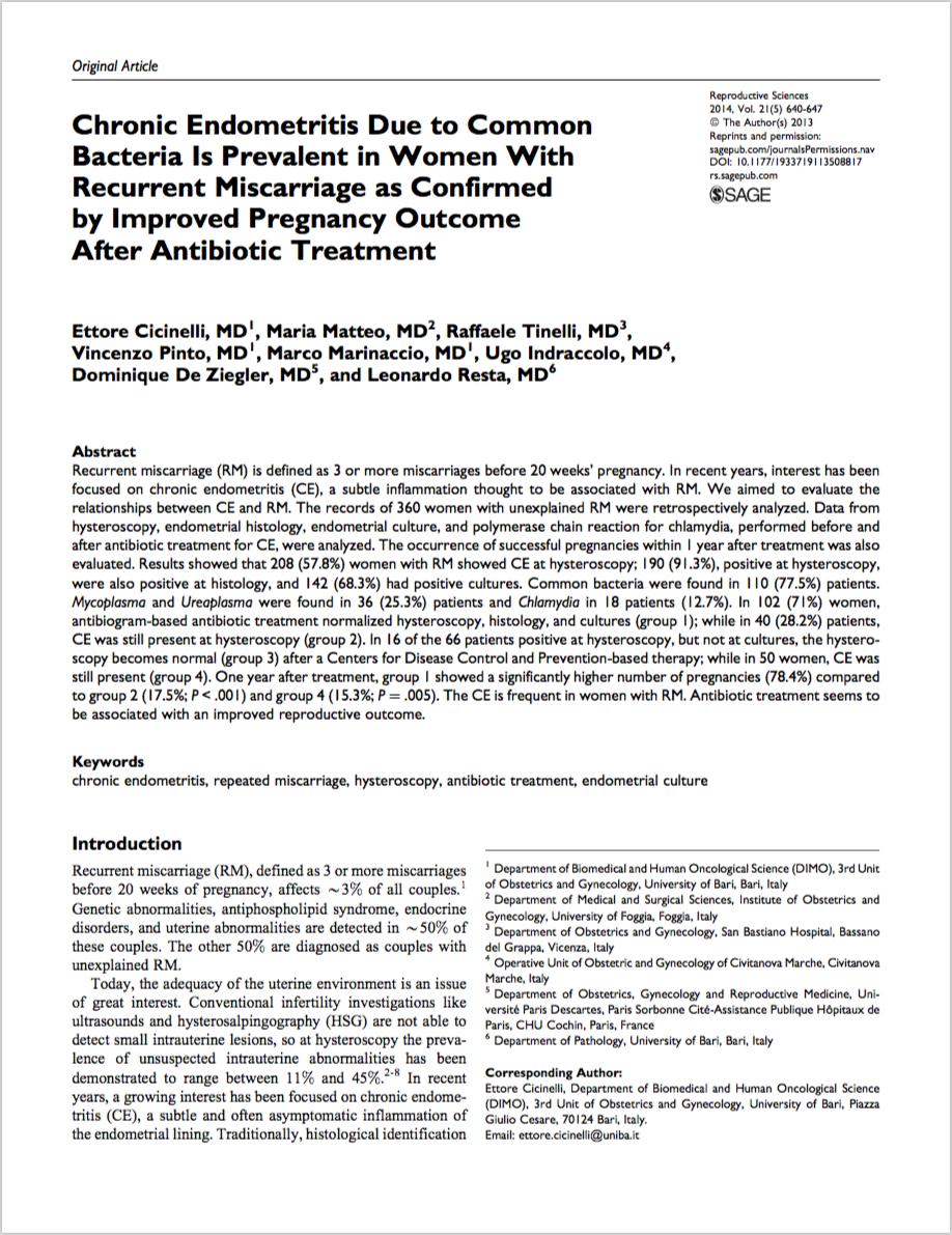 Reprod Sci. 2014 May;21(5):640-7. - Cicinelli E, Matteo M, Tinelli R, Pinto V, Marinaccio M, Indraccolo U, De Ziegler D, Resta L.
