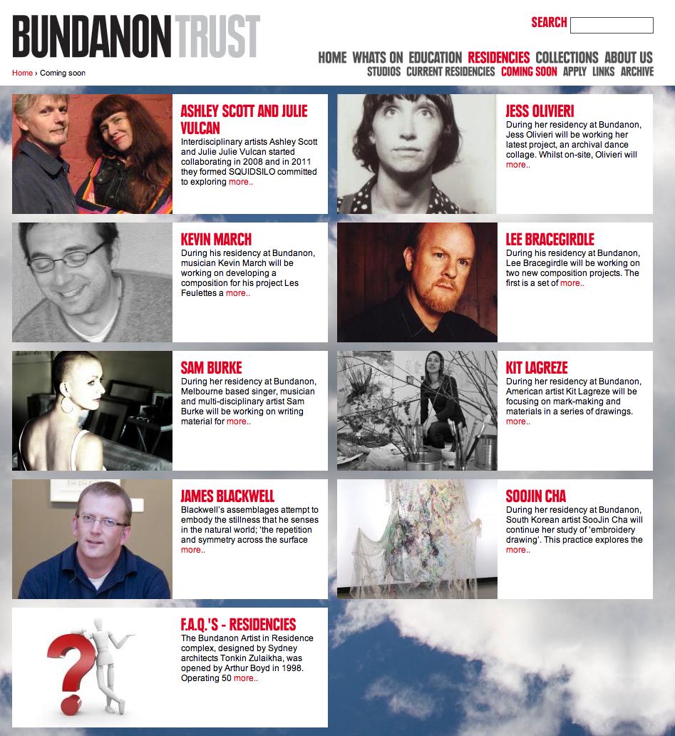 Some of the creative folk at Bundanon in September