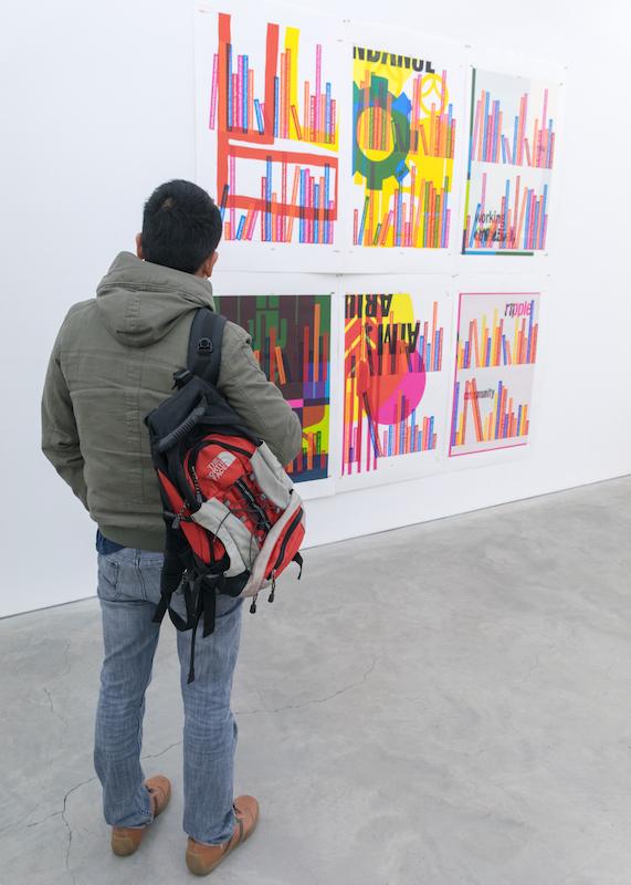 Maxx enjoying Emily Floyd'scurrent exhibition at Anna Schwartz Gallery Melbourne
