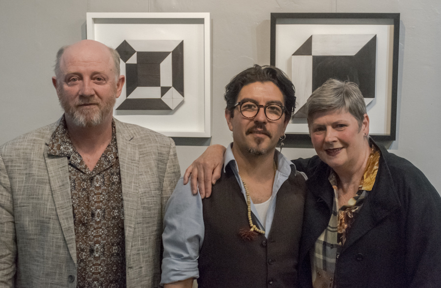 Author Mark O'Flynn, Gallery Director Victor Peralta and Faye Wilson