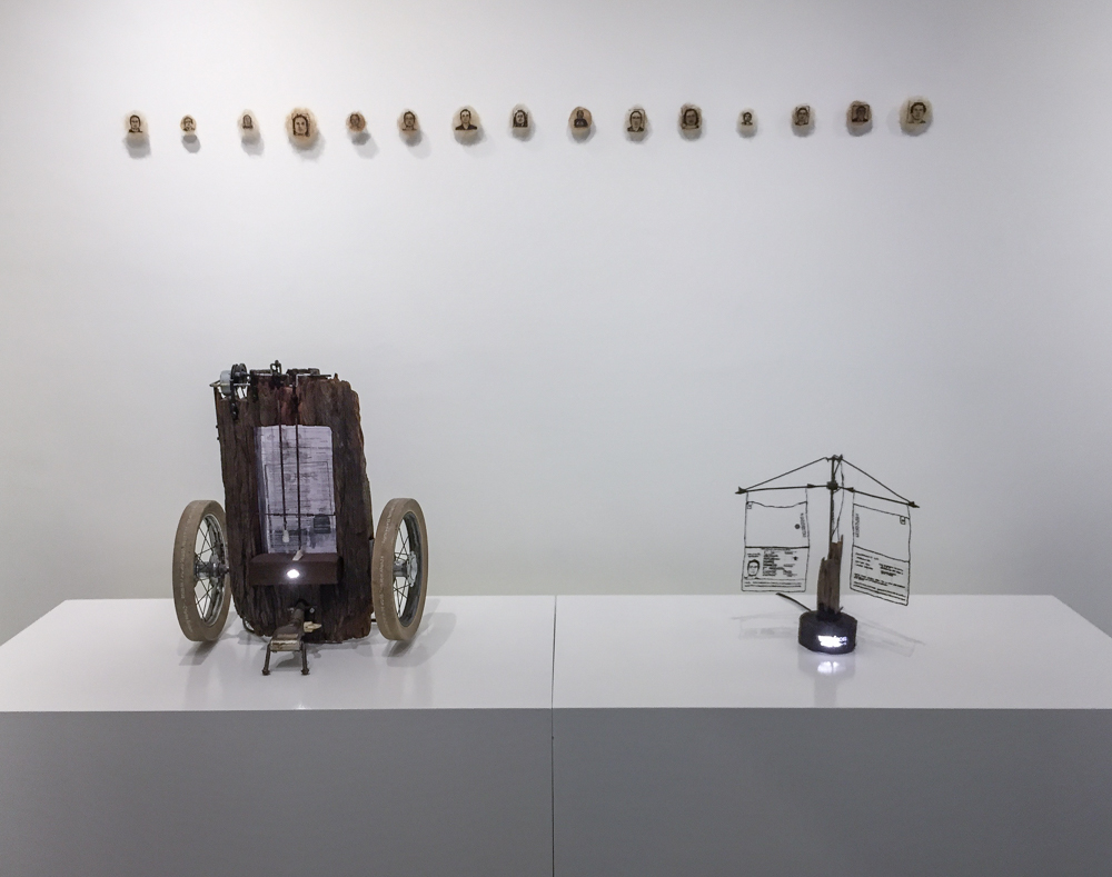 Leonardo Uribe's kinetic sculpture and self portraits made from hair.
