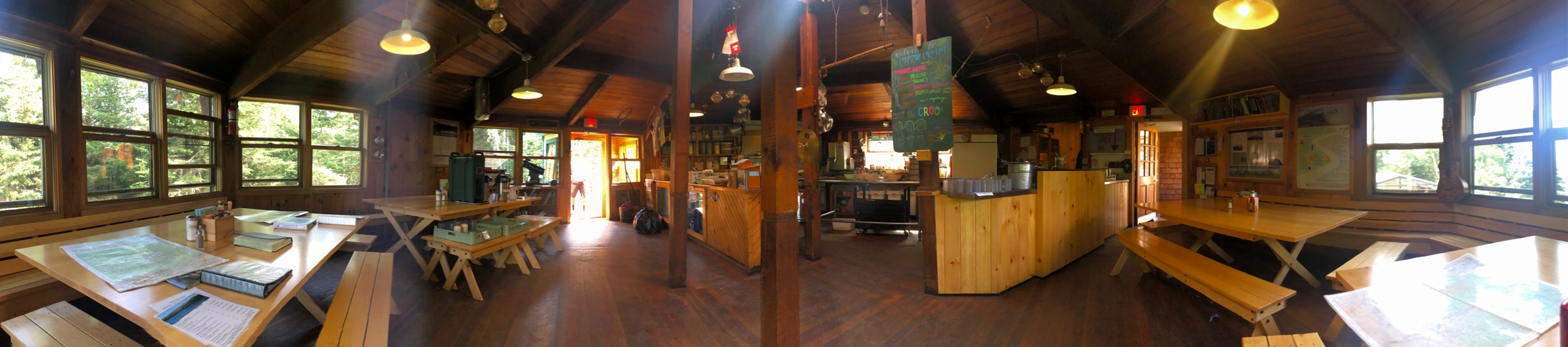 Inside the Lonesome Lake Hut