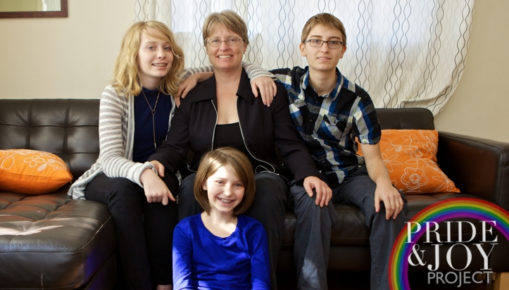 Susan with her three kids.  Photo by Betsy Kershner for The Pride & Joy Project, 2015.