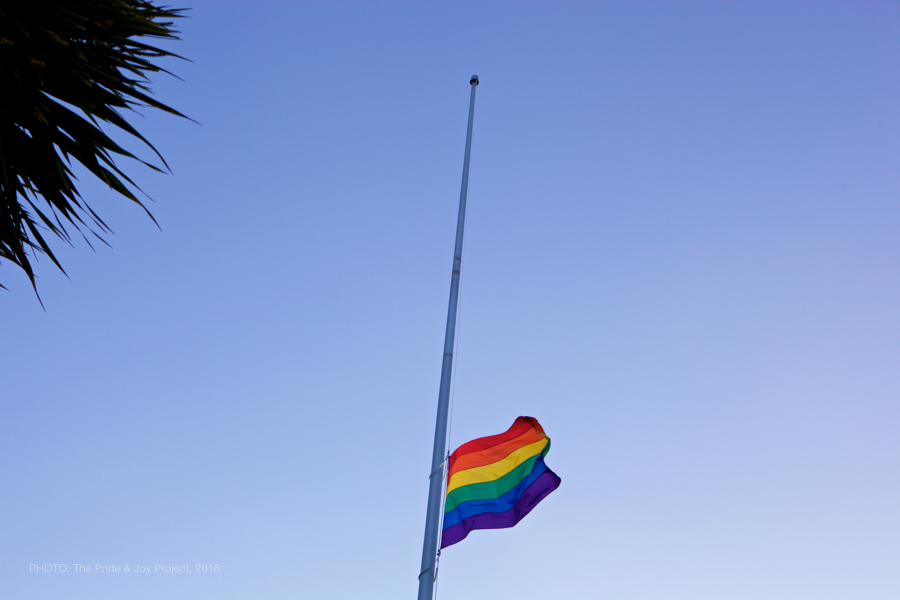 The rainbow flag flies at half mast in San Francisco, CA.© Kersh Branz, 2016.