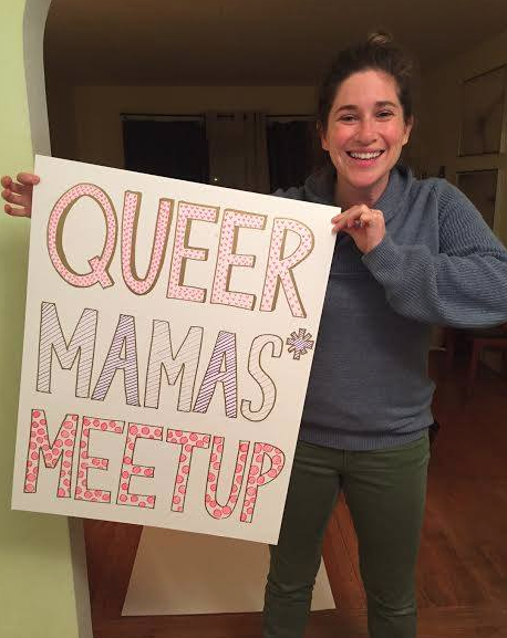 My wife, Toby preparing our signs for our SF Pride meetup!
