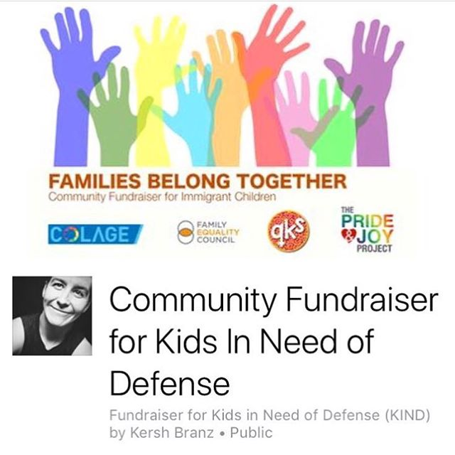Friends! I'm delighted to announce that I am partnering up with #COLAGE @colagenational Family Equality Council @familyequality and Queer Kid Stuff @queerkidstuff for a Community Fundraiser to benefit Kids In Need of Defense (KIND)!!! @supportkind KIND works specifically with immigrant children to make sure they have legal representation in court and they work hard providing the tools and resources to children of all ages. They are able to provide mental health assistance, transitional resources, educational access, and legal aid directly with immigrant children. I'm proud to partner with these leaders in our queer community and hope you'll consider making a donation! We as queer people, parents, and families know how important and crucial it is to have basic human rights and to be treated with respect —seeing so many children and families abused, oppressed, and torn apart is only a signal that we must fight harder, speak up louder, and join together. Our revolution must be intersectional for it to work. Please consider donating if you can. Link here and in bio! ✊🏼✨ https://www.facebook.com/donate/191337238215933/ #💌 #donate #familiesbelongtogether #kind #sf #communityfundraiser #lgbtqia #queerfamilies #hope #giveback