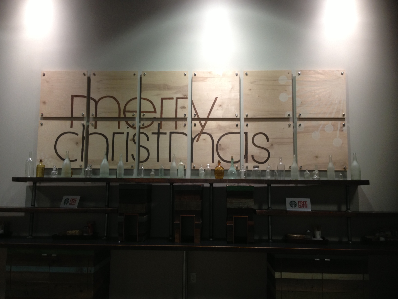 the usual art piece swapped out for our merry message