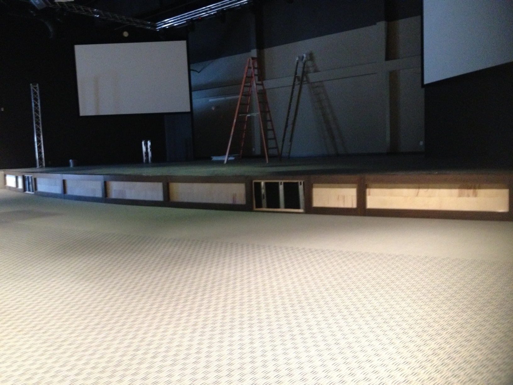The worship center stage coming along nicely. There will be stacked ledge stone on the face of it soon.