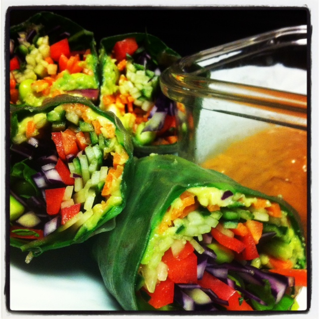 """Try serving this spring roll with a cup of warm miso soup for a perfect """"transition to spring"""" meal!"""