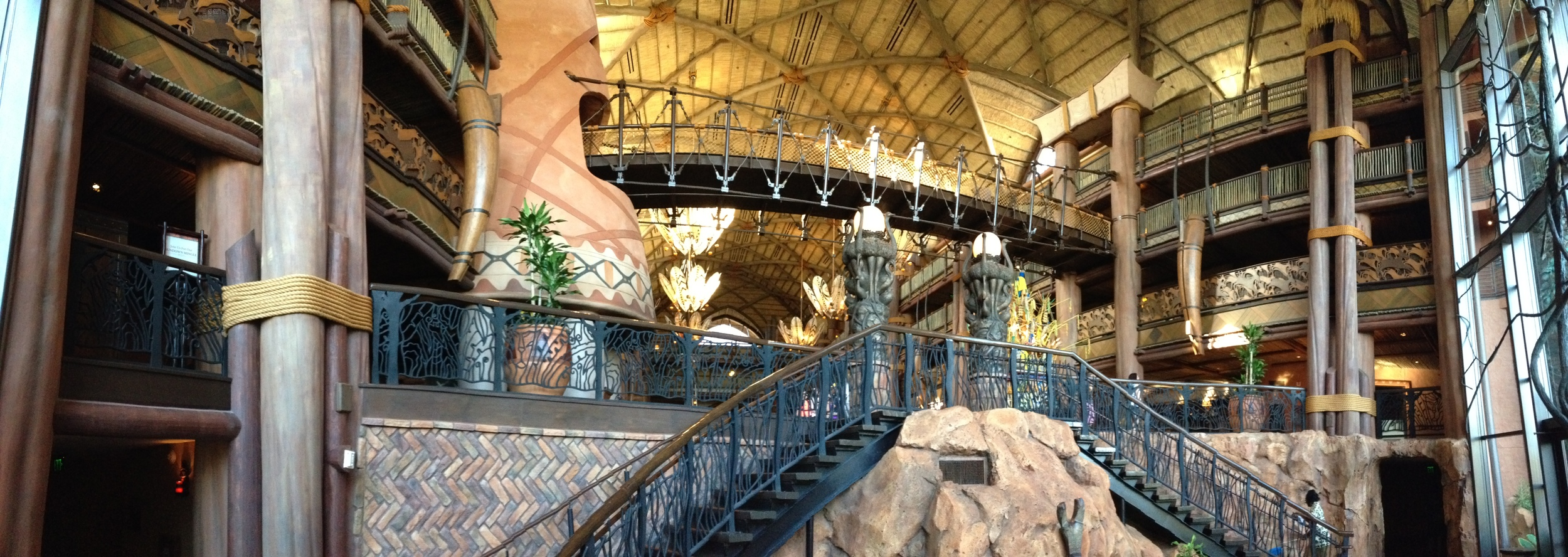 Disney's Animal Kingdom Lodge from the bottom of the lobby stairs.