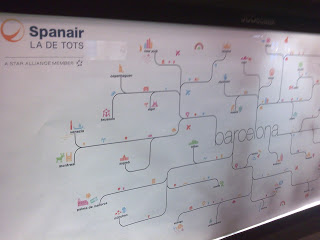 """Spanair was positioning itself as """"the Barcelona airline"""": here a map of its network in a commercial advert"""