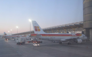 Early morning at Madrid airport, a familiar view for many Barcelona-based passengers